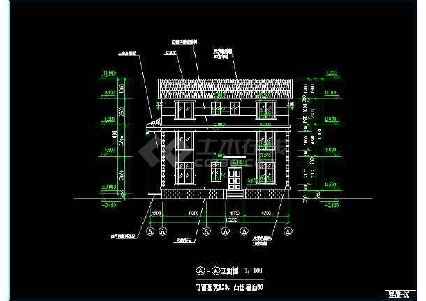 某市区小型别墅CAD建筑施工图纸-图1