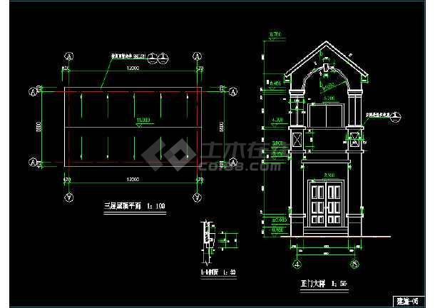 某市区小型别墅CAD建筑施工图纸-图2