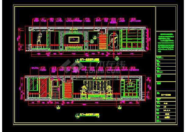 混搭顶级三层别墅建筑cad设计施工图-图3