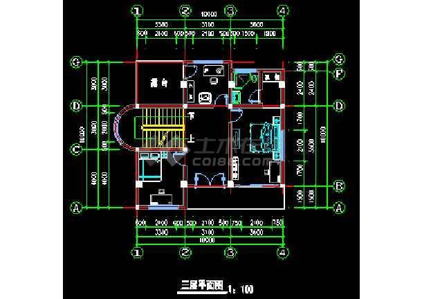 某地农村别墅CAD建筑设计施工图-图3
