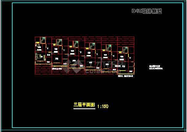某城市联体别墅小区CAD设计方案图-图3