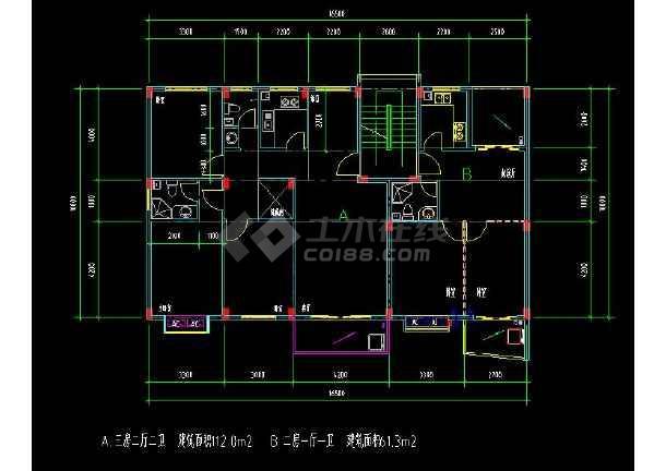 某地多层住宅建筑经典户型方案设计CAD图-图1