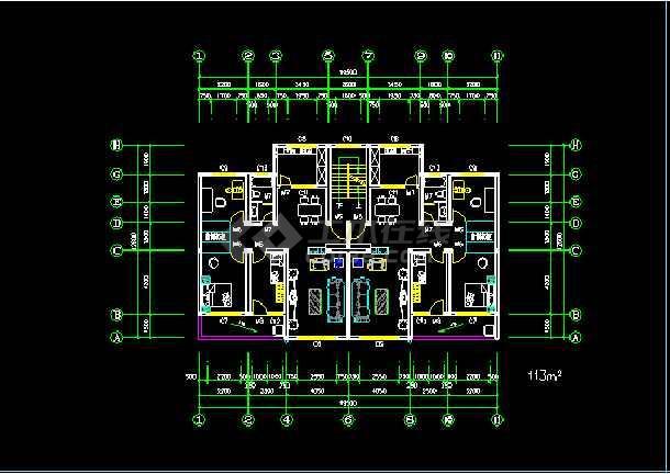 某住宅楼户型标准层的CAD平面图-图3