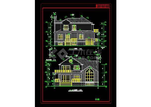 豪华别墅建筑cAD设计施工图附效果图-图2