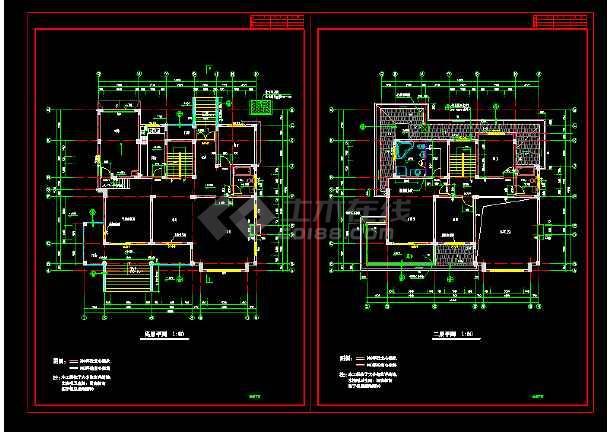 豪华别墅建筑cAD设计施工图附效果图-图3