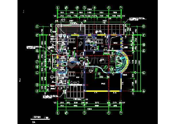 某市经典别墅样板建筑CAD施工设计图纸-图1