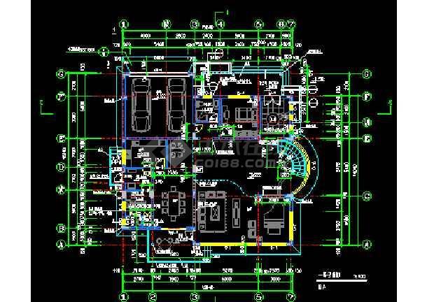 某市经典别墅样板建筑CAD施工设计图纸-图3