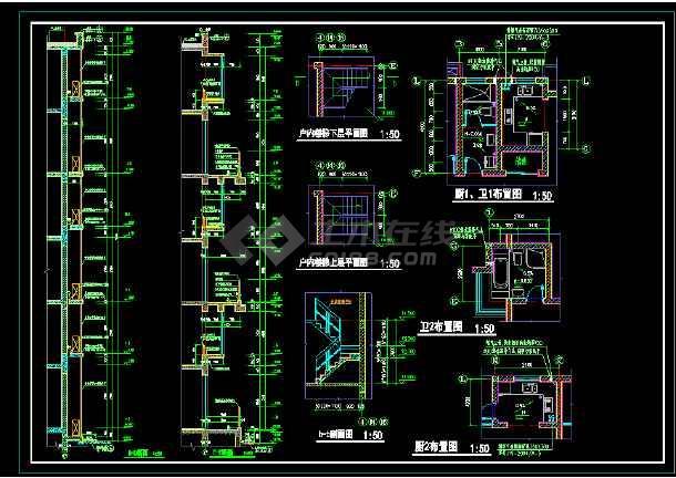 某城市联体别墅小区CAD建筑施工图-图3