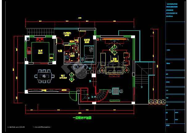 现代精致双层别室内墅cad装修图(含效果)-图1