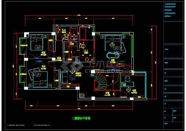 现代精致双层别室内墅cad装修图(含效果)-图3