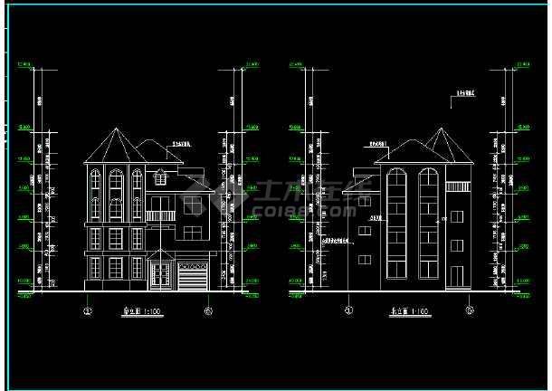 某城市复式别墅小区CAD设计施工图(内含设计说明)-图3