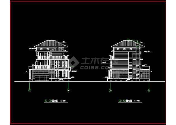 某城市高档别墅小区CAD设计施工图-图1
