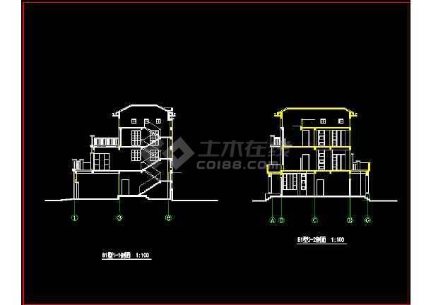 某城市高档别墅小区CAD设计施工图-图2