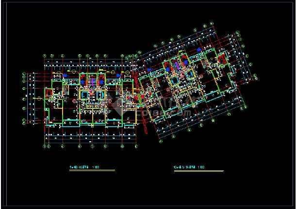某地多层住宅建筑设计CAD标准层平面图-图3