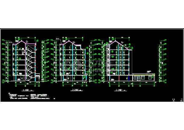 某市区多层商住楼CAD建筑施工图纸-图3
