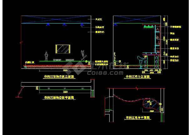 简洁别墅建筑cad室内装修装饰施工图-图3