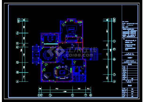 重庆豪华高尔夫别墅cad施工图(装饰+水电+效果图)-图1