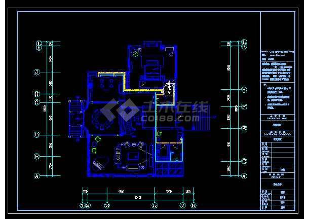 重庆豪华高尔夫别墅cad施工图(装饰+水电+效果图)-图3