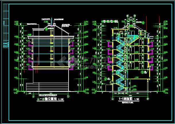 某一典型住宅建筑的CAD平立剖图-图3