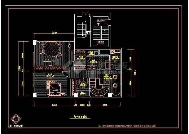 厦门某三层空中别墅cad设计室内装修图cad2010序列号最新图片