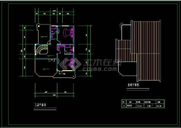 某地特色小别墅建筑设计cad平立剖方案图