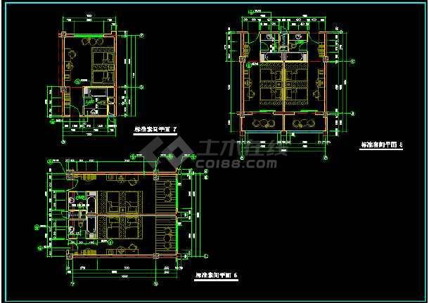 某地四星级宾馆标准间cad设计平面图