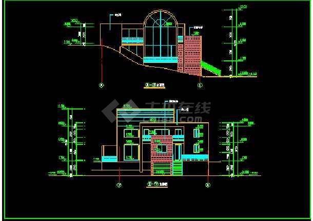 室内带游泳池别墅方案cad平立剖面设计图