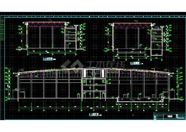 某体育馆建筑设计全套原理CAD机械课图纸方案图纸a3图片
