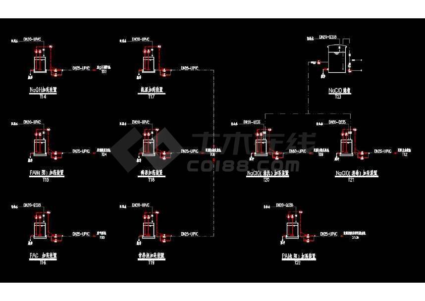 某工业废水工艺流程PID设计CAD图-图2