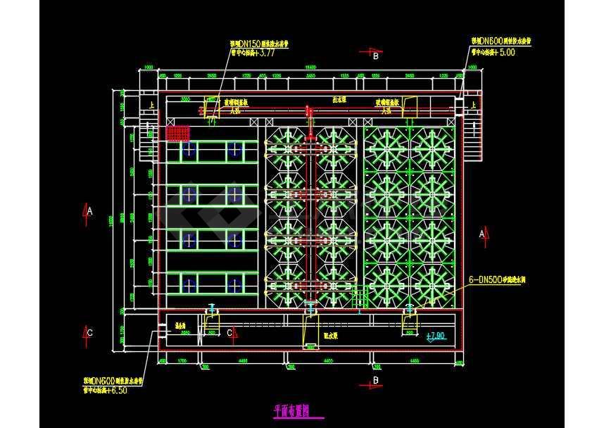 某工程活性砂滤池参考设计CAD图纸-图3