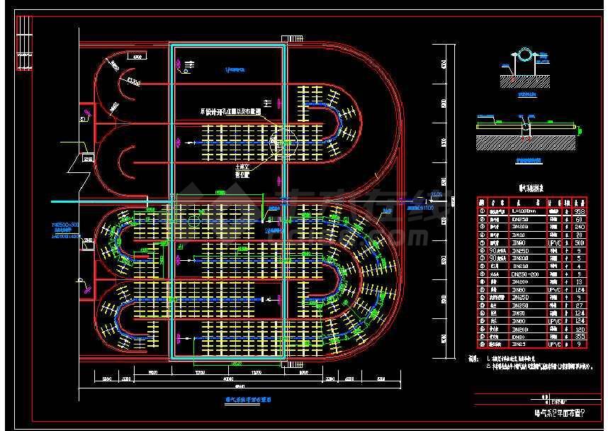 南方某污水处理厂曝气系统设计图cad-图1