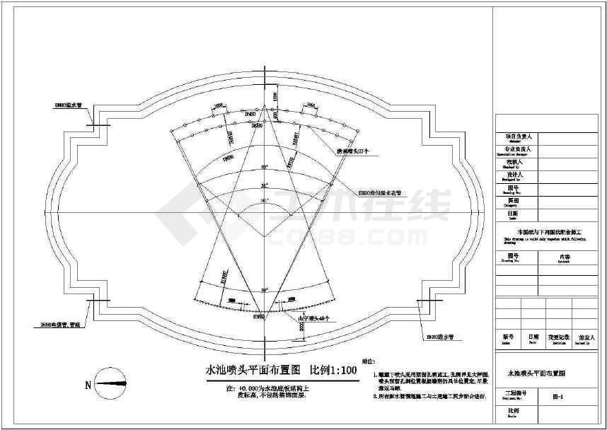 某地雕塑喷泉给排水图纸(标注详细)-图2