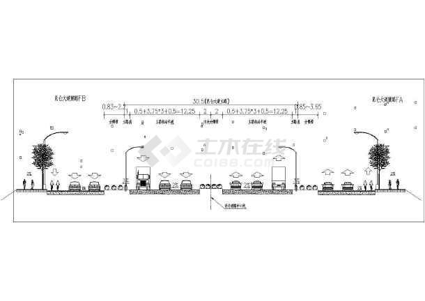 广西昆仑大道立交桥CAD平面布置图 -图1