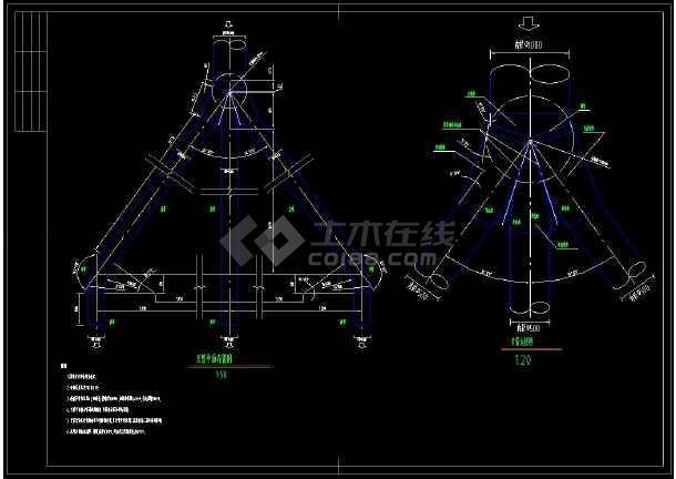 某水电站压力岔管cad设计施工方案图-图1