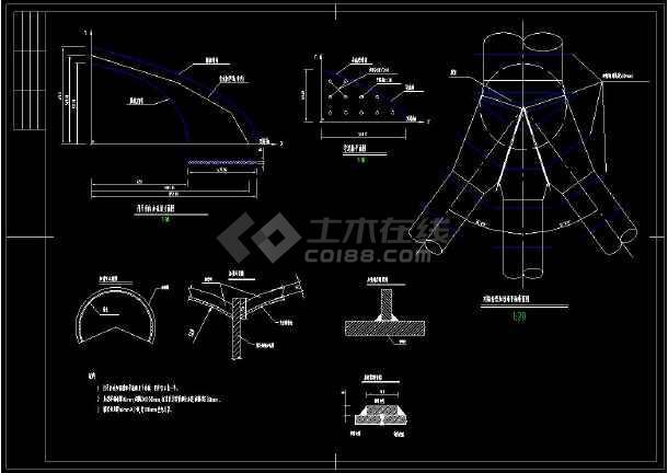 某水电站压力岔管cad设计施工方案图-图2
