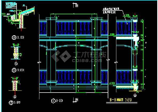 小型别墅建筑设计cad平立剖面图纸