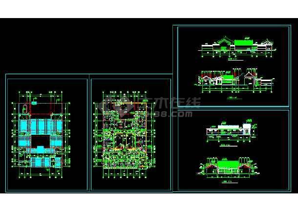 某四合院住宅建筑方案cad施工设计图纸