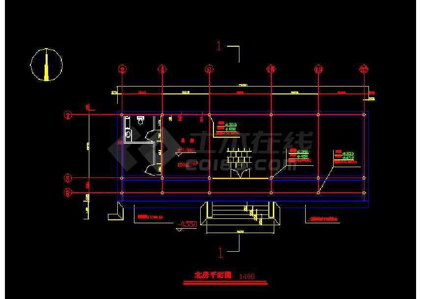 某四合院北房建筑施工图纸(标注详细)