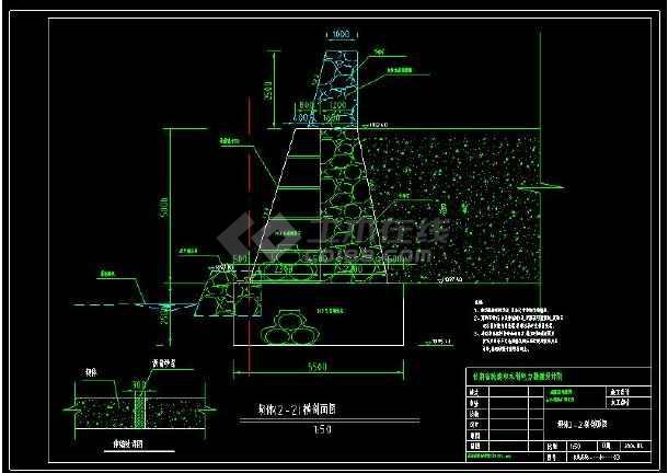 某水库工程尾矿坝建筑设计cad方案图-图2