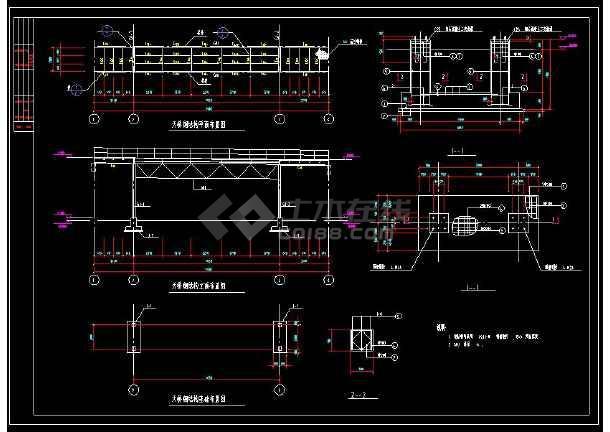 某地闹市过街天桥详细cad结构施工图-图1