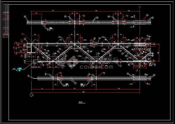 某地闹市过街天桥详细cad结构施工图-图2