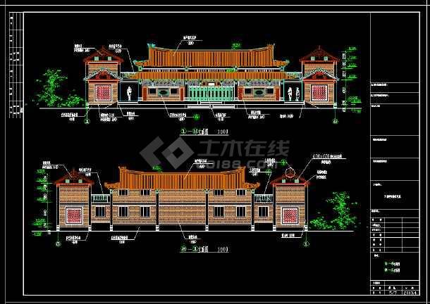 江南镇仙塘安息堂古建筑设计cad施工图