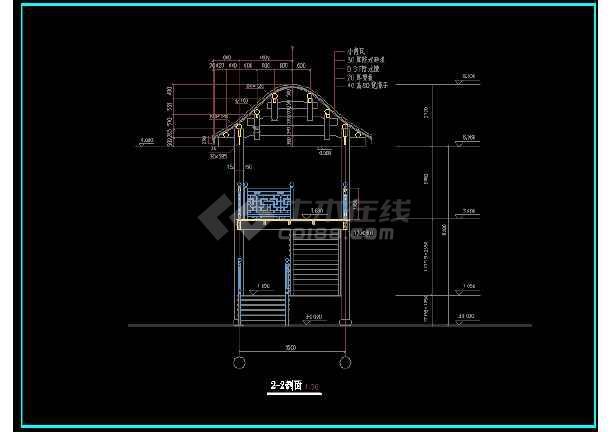 本资料为:某经典古建楼梯建筑cad设计平剖面图,内含:二层楼梯平面图