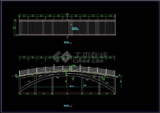 通用高度cad设计拱桥施工方案图cad大样标图片