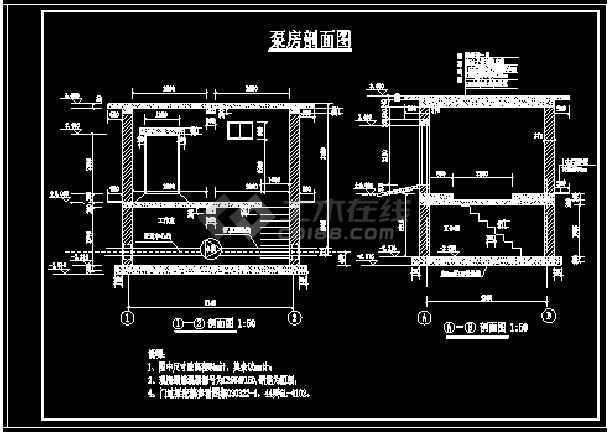 小型双层(地上一层,地下一层)砖混泵房设计图集-图1