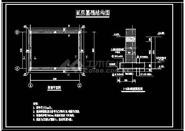 小型双层(地上一层,地下一层)砖混泵房设计图集-图2