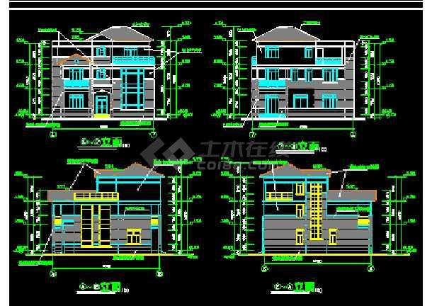 别墅建筑施工cad平立剖面设计图纸