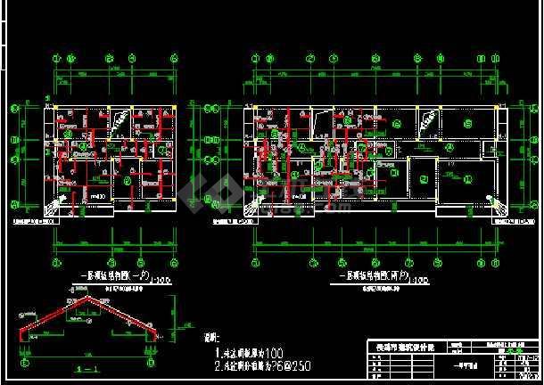 侯马市某建筑设计院cad施工结构平面图纸