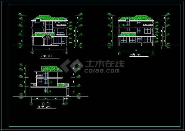 某地现代风格别墅建筑设计cad平立剖面图