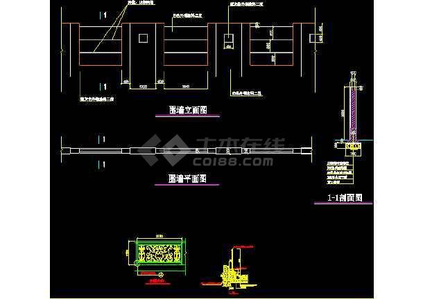 某围墙栏杆详细设计CAD图块大集全-图2